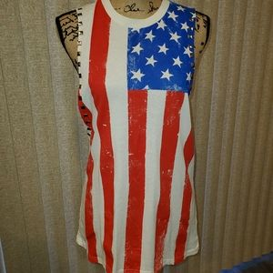 Forever 21 studded flag muscle tee NWT